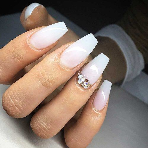 Simple Coffin Nails With Moon Crystals Accent #crystalsaccent
