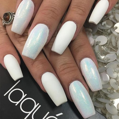Gorgeous White Coffin Nail Designs picture 5