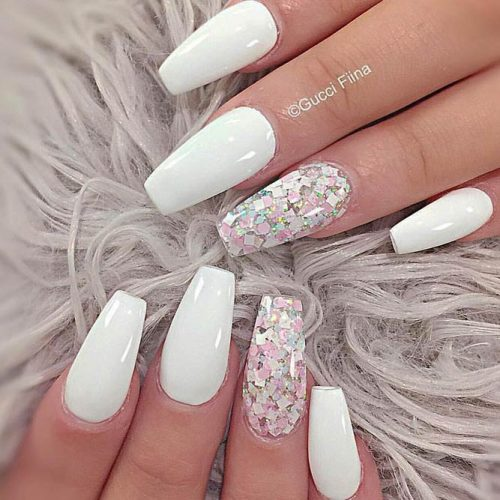 Stunning White Coffin Nail Designs picture 4
