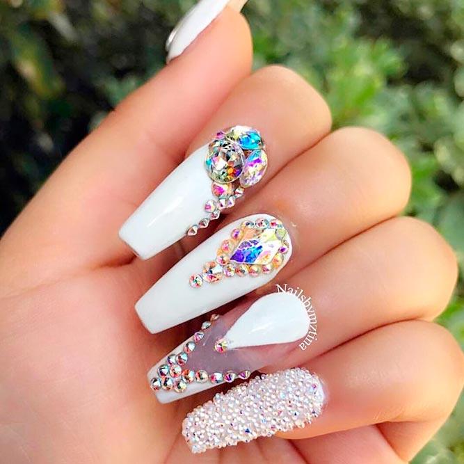 Cute White Coffin Nails #longnails #rhinestonesnails
