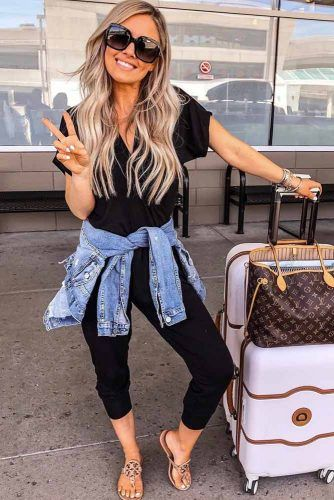 Black Overall With Denim Jacket #overall #jeanjacket