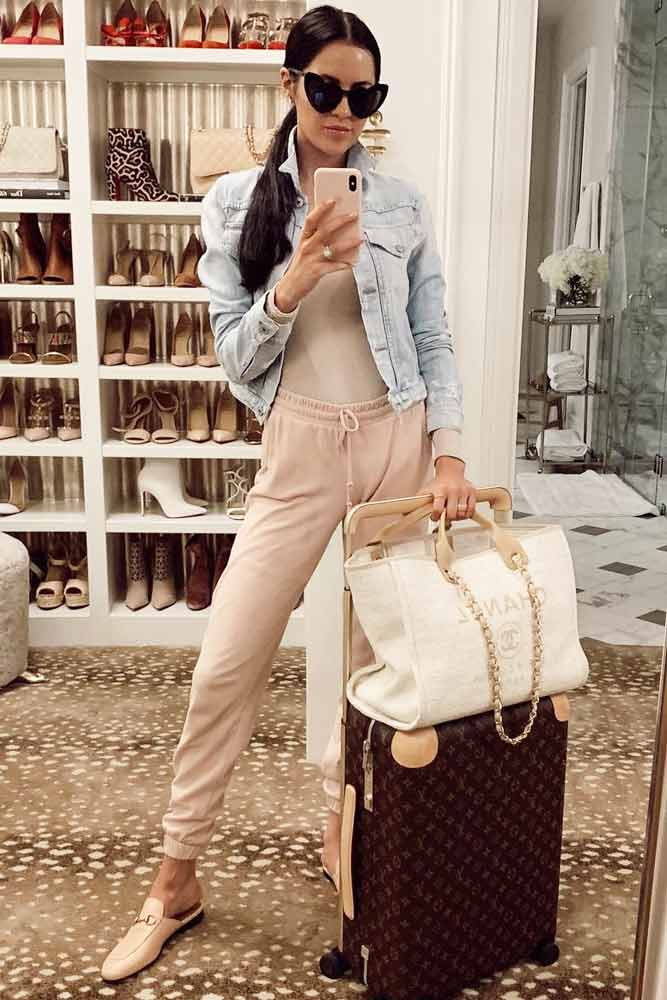 Blush Pants With Jean Jacket Airplane Outfit #pants #denimjacket