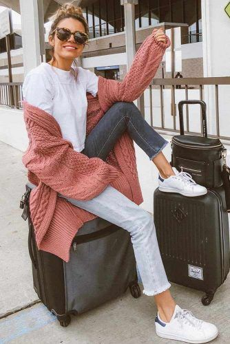 Long Cardigan With Jeans Travel Outfit #longcardigan