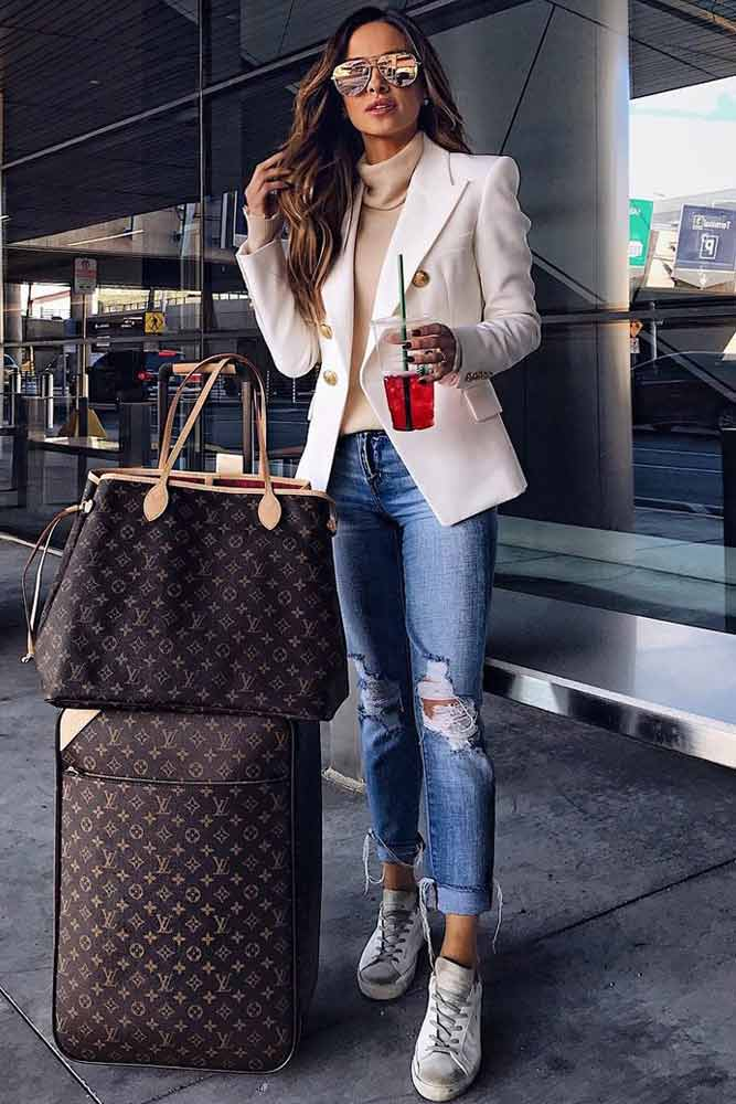 Jacket With Ripped Jeans Travel Outfit #jacket