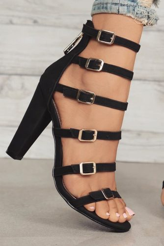 Stunning Black Strappy Heels Designs picture