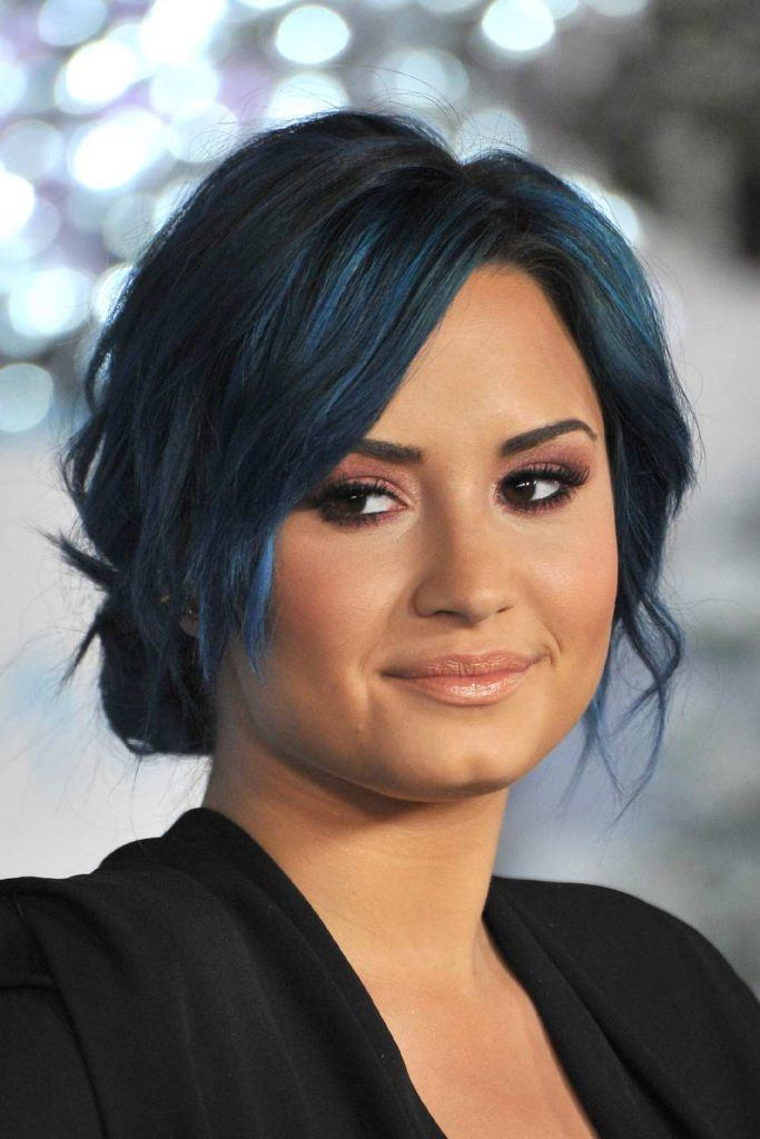 Demi Lovato with Blue Black Hair