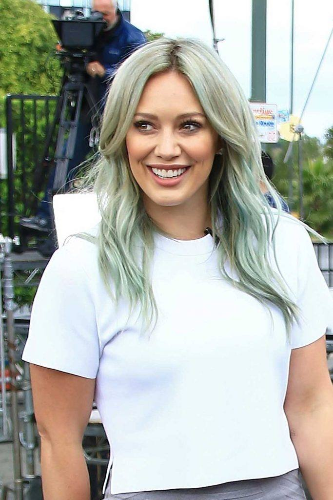 Hilary Duff with Washed Blue Hair