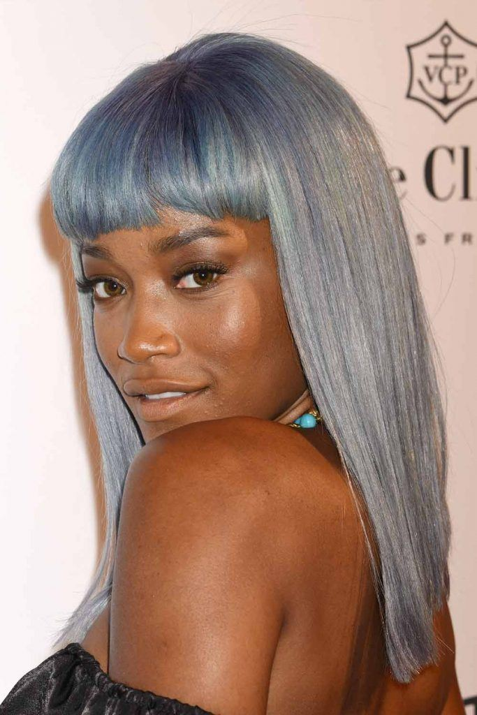Keke Palmer with Washed Out Blue Long Bob