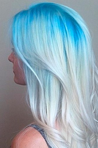 White and Blue Ombre Curls