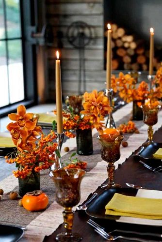 Wedding Сenterpieces With Orange Orchids #fallweddingdecor #weddingcenterpieces