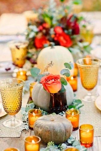 Stylish Fall Wedding Centerpieces With Pumpkins And Candles #fallweddingdecor #weddingcenterpieces