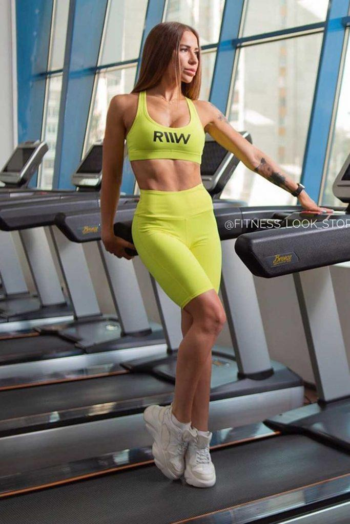 Yellow Fitness Set With Cycling Shorts #cyclingshorts