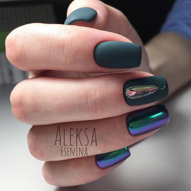 Cute Dark Green Nail Designs picture 2