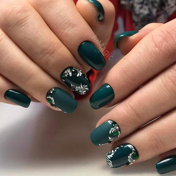 Cute Dark Green Nail Designs picture 6