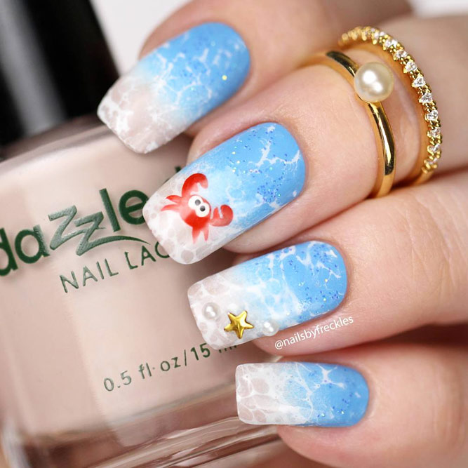 Ocean Shells And Undersea World For Summer Manicure With Funny Crab #squoval #animalnails #crabnails