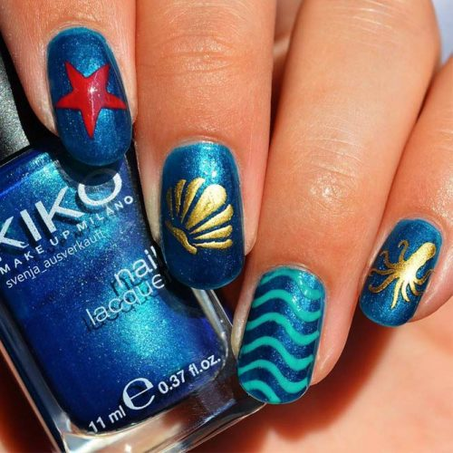 Blue White Gold Summer Nail Colors picture 1