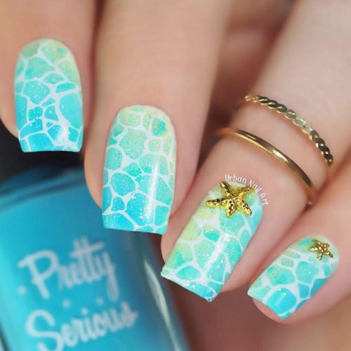 Ocean Shells And Undersea World For Bright Summer Manicure In Aqua Shade #aquanails #squarenails