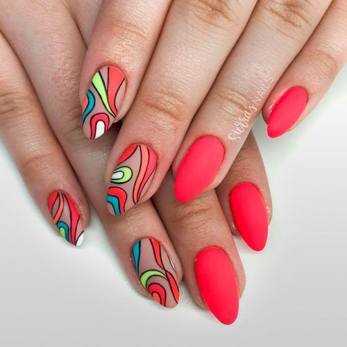 Bright Abstracted Matte Nails #mattenails #rednails