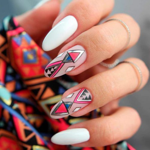 Matte Tribal Naildesigns #mattenails #tribalnails