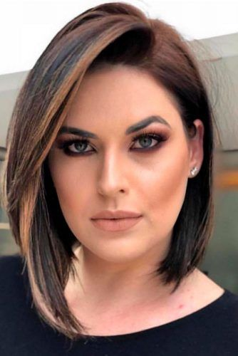 Side Parted Sleek Bob #sleekhair #brownhair