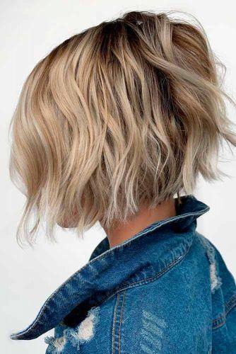 Wavy A-line Bob #blondehair #wavyhairstyles
