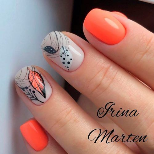 Orange Abstracted Fall Nails #orangenails #fallnails