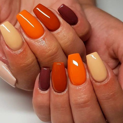 Easy Nails With Fall Colors #easynailart
