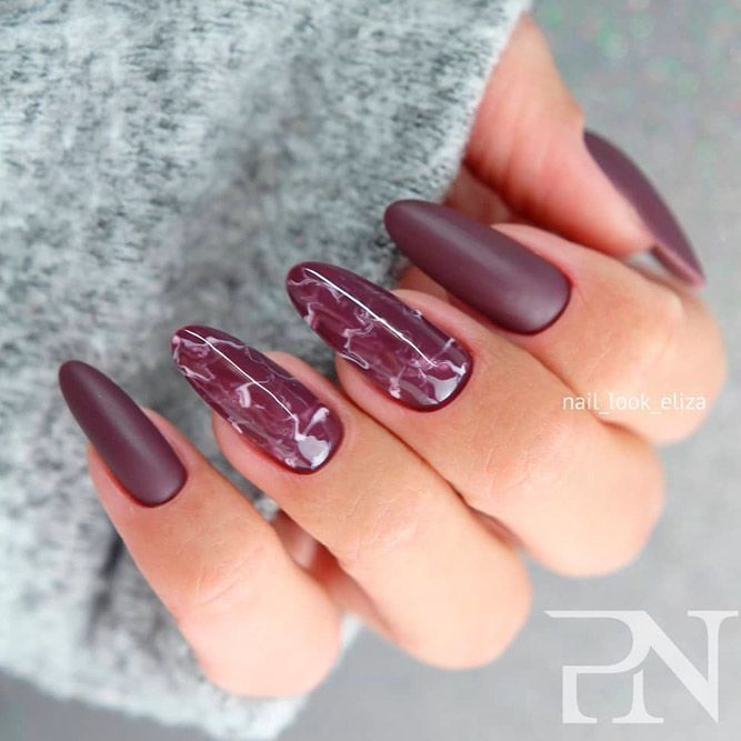 Burgundy Marble Nail Art For Fall Mani #mattenails #burgundynails