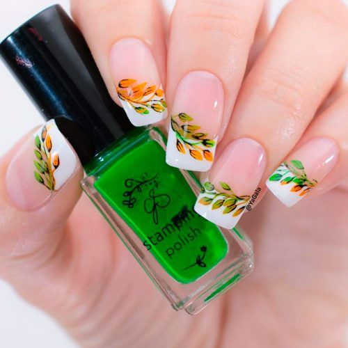 Fall French Nail Design #frenchnails #fallnails