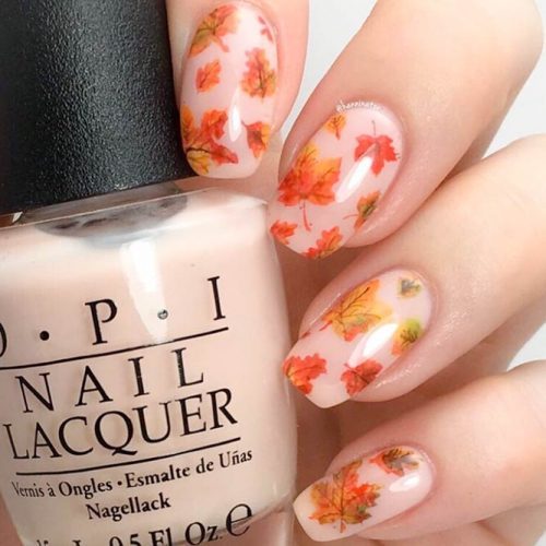 Simple Fall Nail Designs With Leaves #laevesnaildesign #easynaildesign