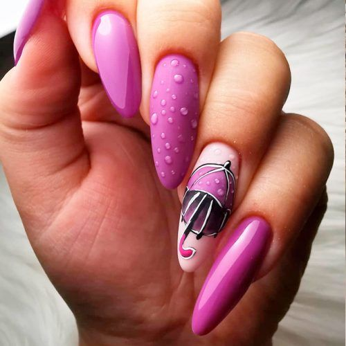 Bright Mani With Umbrella #purplenails