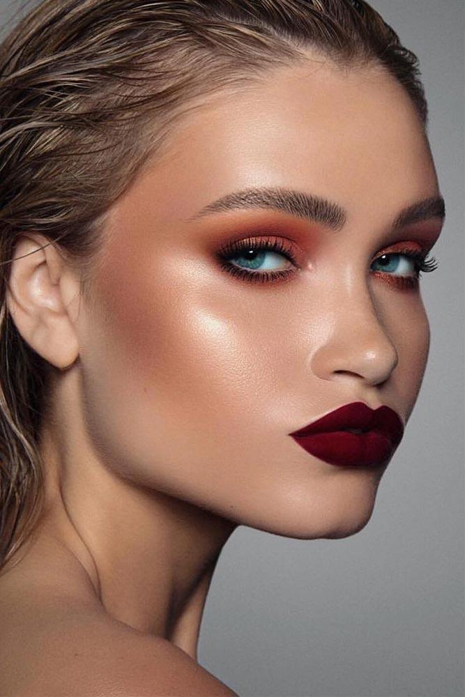 Orange Smokey WIth Matte Burgundy Lipstick #mattelipstick