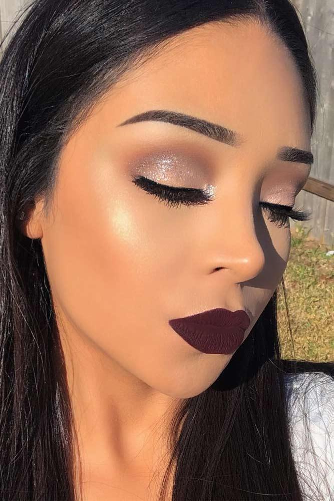 Glitter Eyeshadow With Purple Matte Lipstick #purplelipstick