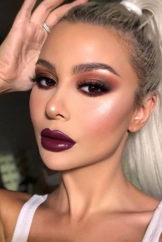 Brown Smokey With Purple Lipgloss #lipgloss #smokey