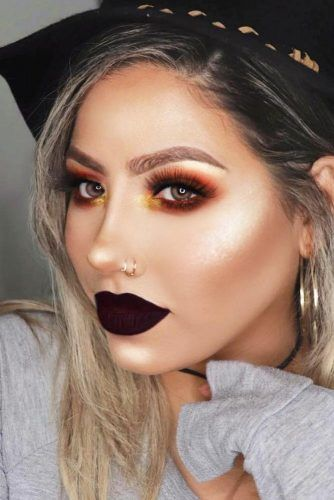Orange Smokey With Matte Plum Lipstick #plumlips #smokey