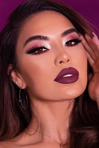 Shimmer Purple Smokey With Matte Lipstick #purplelips