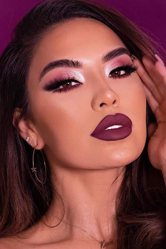 Shimmer Purple Smokey With Matte Lipstick #purplelips