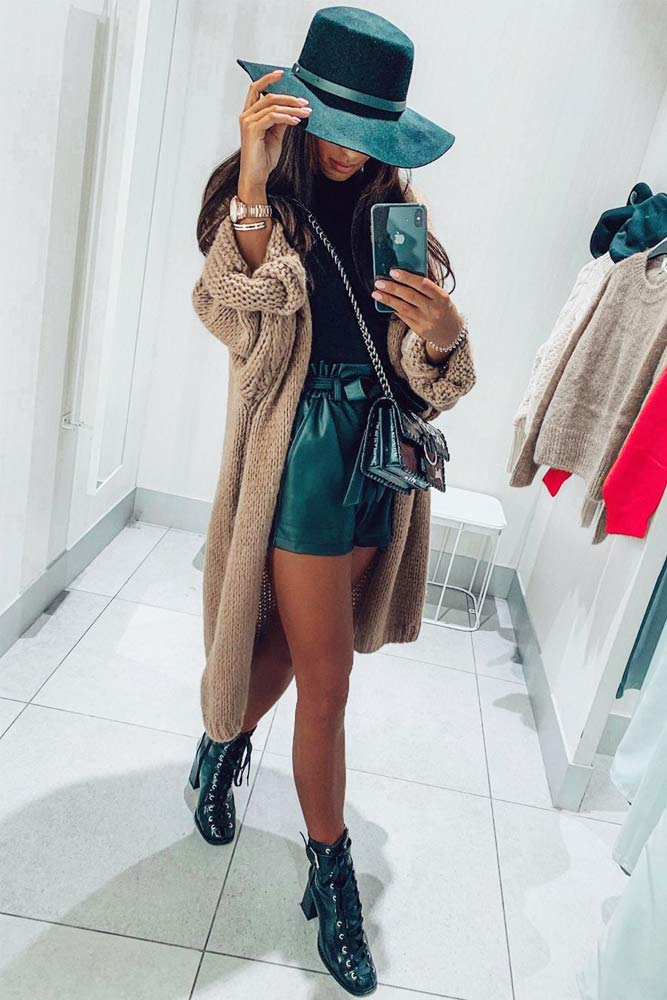 Fall Outfit Idea With Shorts #cardigan #shorts