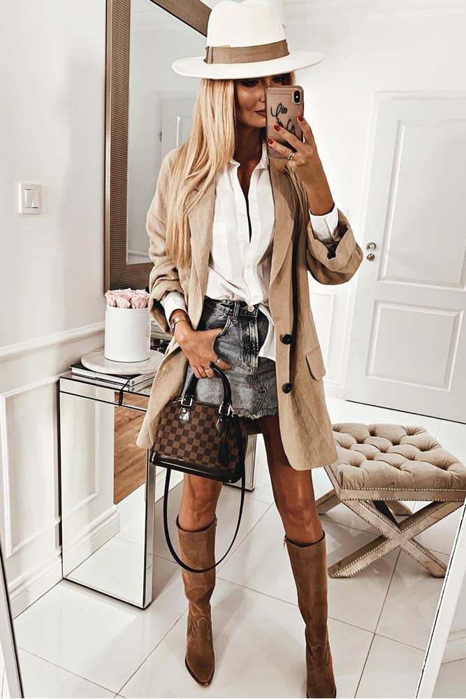 Fall Outfit With Skirt And Blazer #blazer #skirt #hat