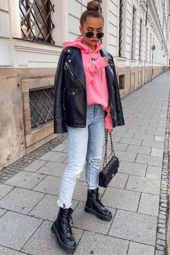 Everyday Look With Moto Jacket #motojacket #pinkhoodie