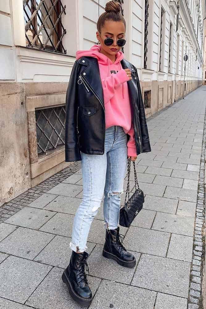 Everyday Look With Moto Jacket #motojacket #pinkhoodie