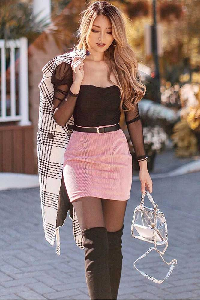 Knee High Boots With A Short Skirt For A Unique Look #miniskirt #overkneeboots