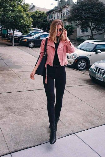 Pink Leather Jacket To Brighten Up Your Fall Outfit Ideas #perfectfalllook #stylish outfit #casualoutfit