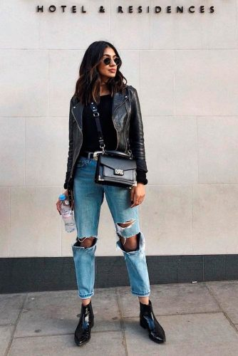 Cool Fall Outfit With Torn Jeans #cooloutfit #stylishlook