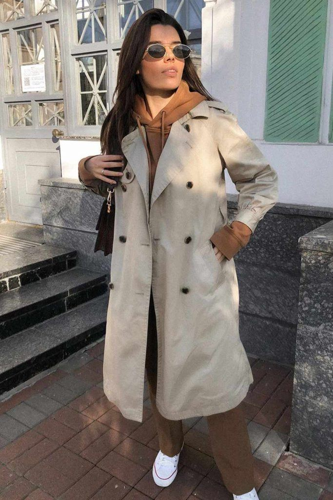 Trench with Hoodie Underneath