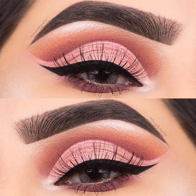 Pretty Cut Crease Makeup Look for Grey Eyes