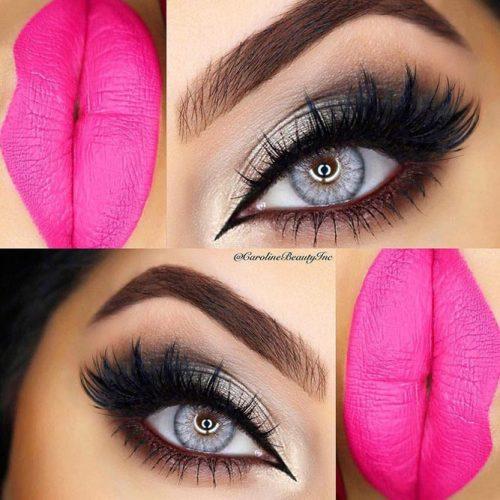 Cute Makeup Look with Black Liquid Eyeliner