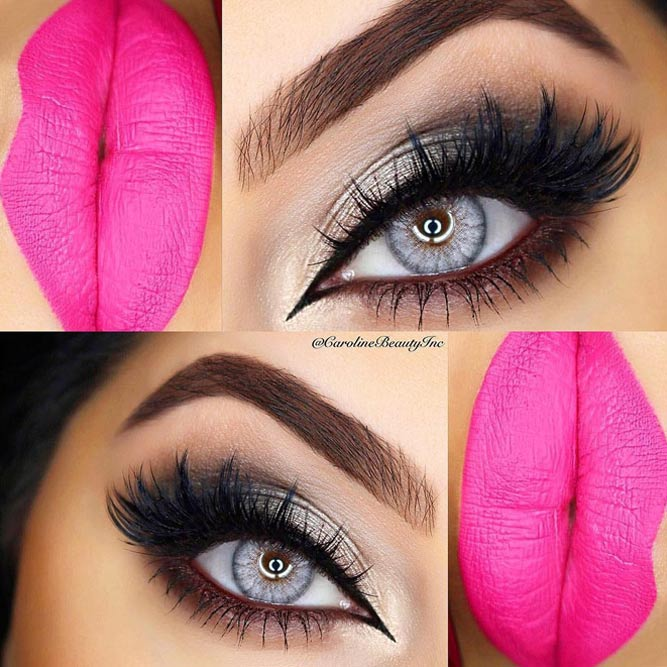 Cute Makeup Look with Black Liquid Eyeliner