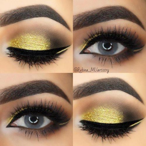 Gold Smokey Eye Makeup Idea
