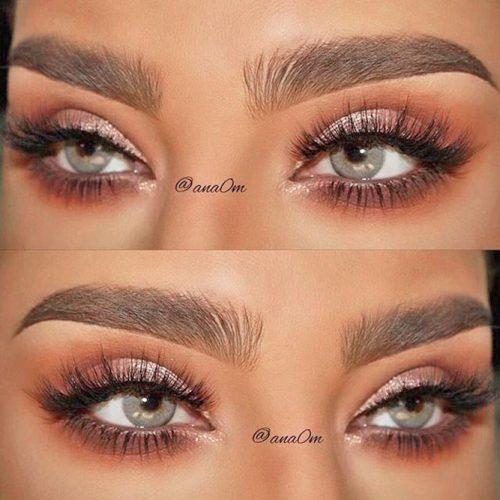 Natural Glam Look For Grey Eyes #shimmereyeshadow